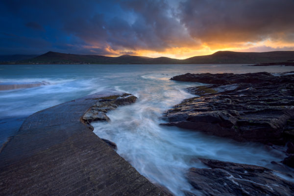 cold sunrise in dingle ireland